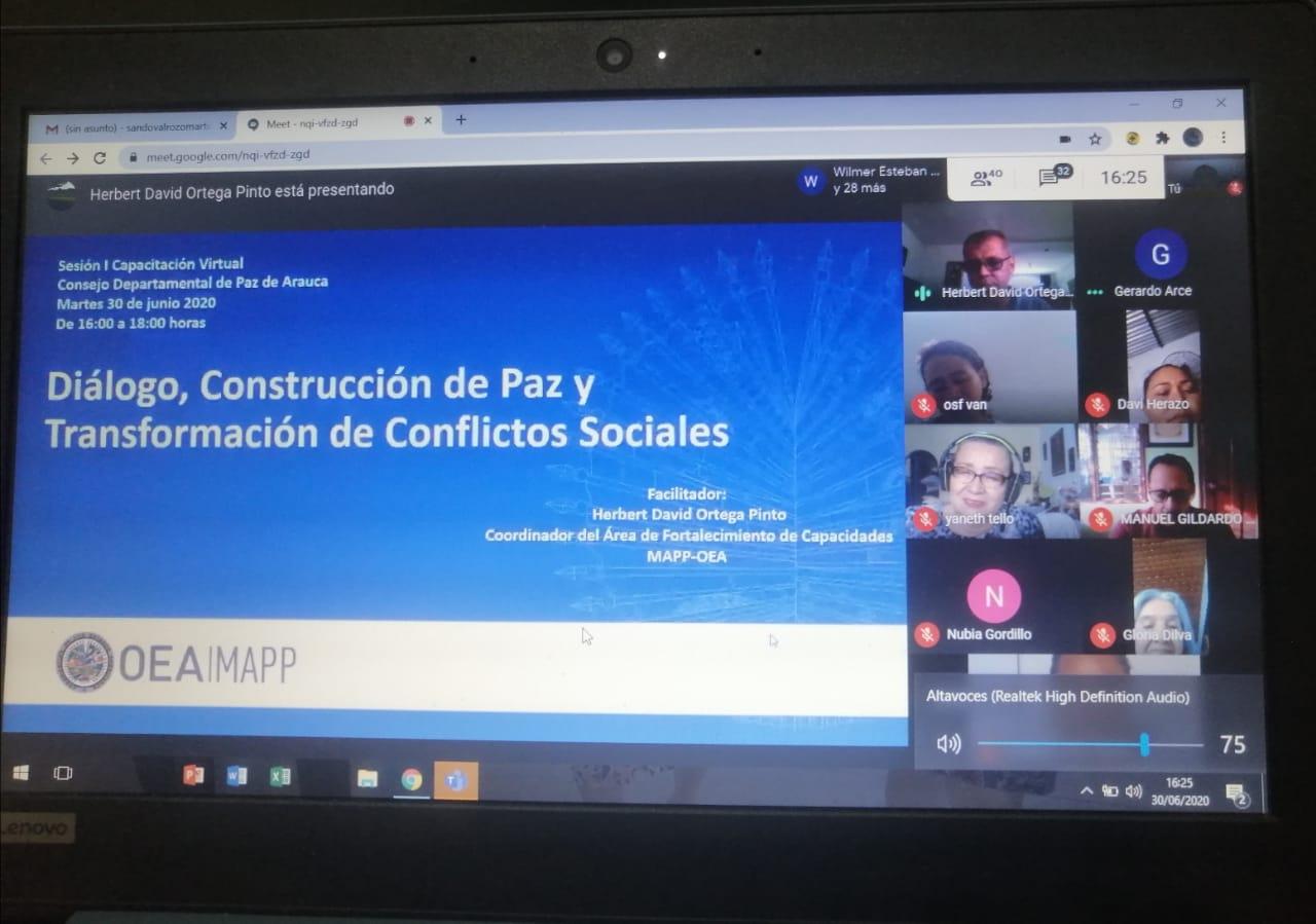 Con el acompañamiento de la Oficina del Alto Comisionado para la Paz, la MAPP/OEA imparte una capacitación en transformación de conflicto a más de 40 liderazgos sociales y políticos del departamento.